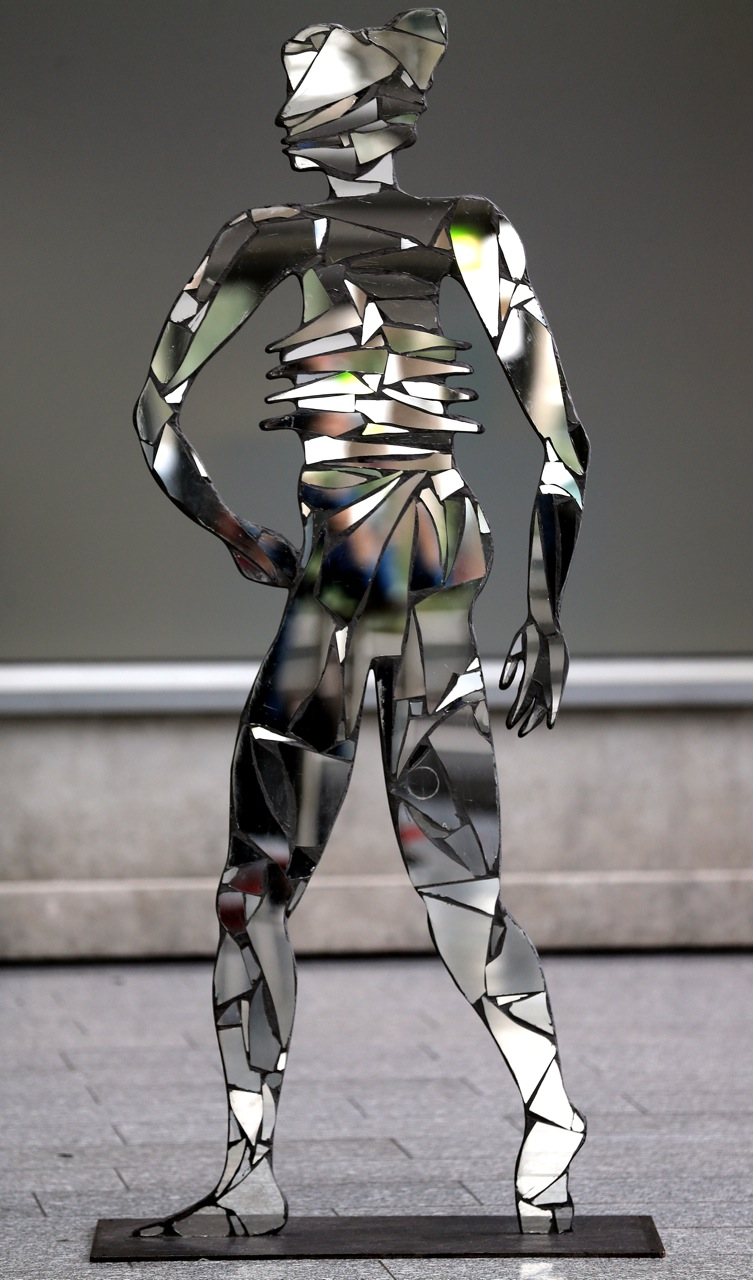 Africa, 2009, Shattered Mirrors on steel, 190 x 85 x 4 cm