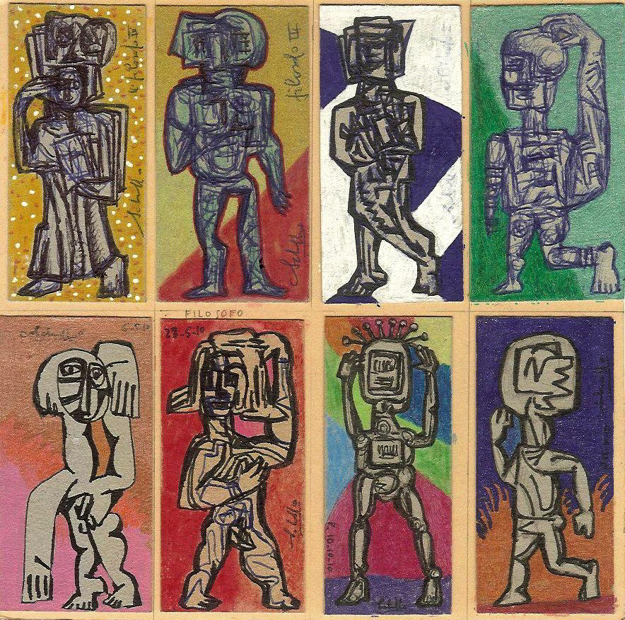 Work cycle Filosofo 2013, mixed technique on cardboard, single piece, 7 x 3,5 cm