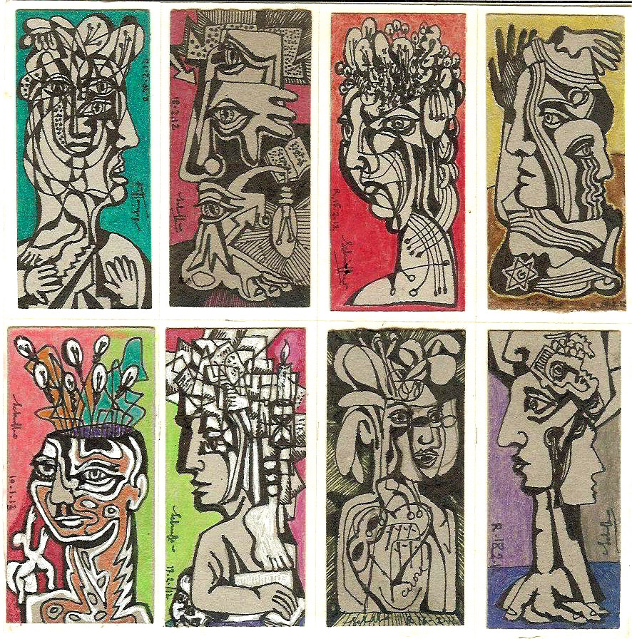 Work cycle Fuori di testa 2013, mixed technique on cardboard, single piece, 7 x 3,5 cm